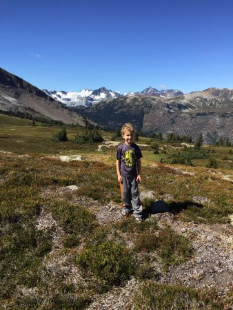 Pemberton, Canada: Kodiak, 7, hiked 11 km mostly off trail by himself. With half of a cliff bar from 11:30-6:30 pm.