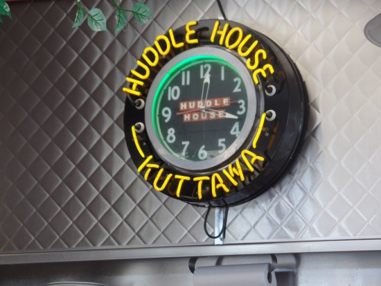 "Kuttawa, Kentucky: This clock says ""We're Always Open""."