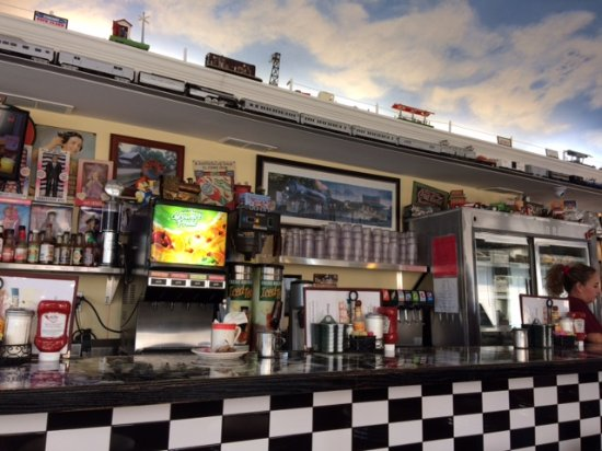 View of the diner. Note the trains near the ceiling.
