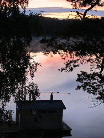 Vittsjo, Sweden: Sauna hus i morgen stunden