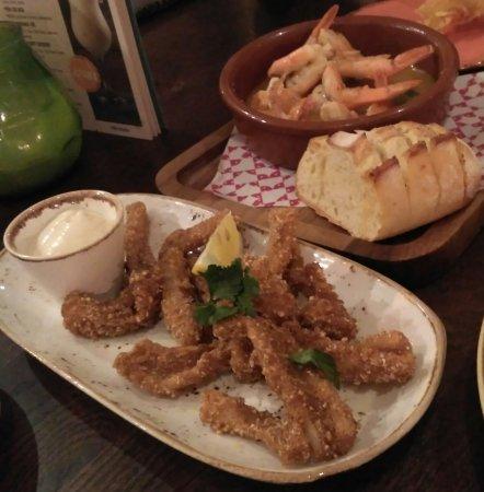 Las Iguanas: Gambas & Calamares(fried squid - front plate)