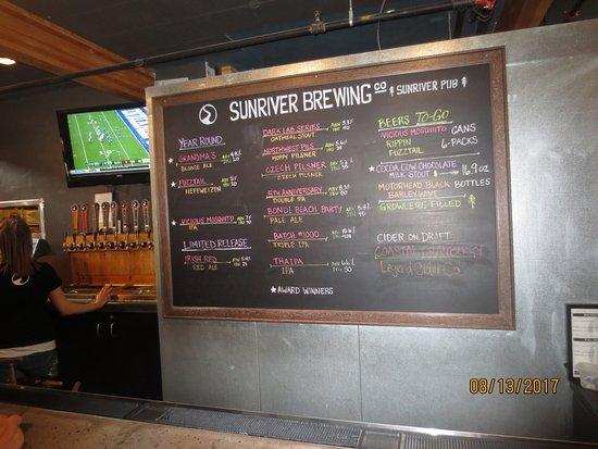Sunriver, OR: beer menu