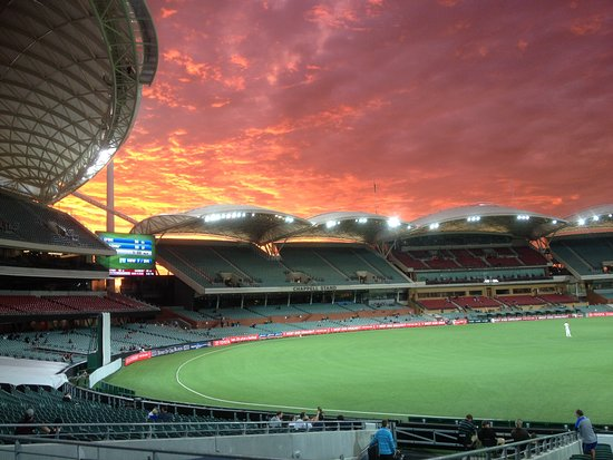 Twlight time at Adelaide Oval. A view of the West & part of the southstands
