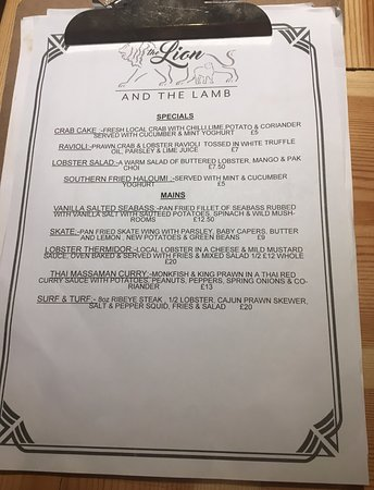 Gosforth, UK: Specials menu (subject to change)