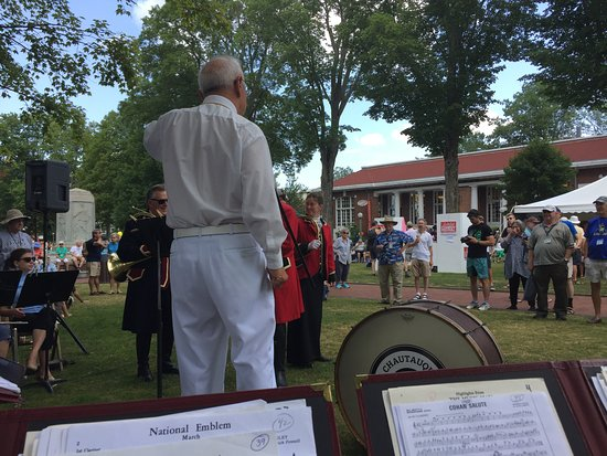 Chautauqua, NY: Band Concert in Front of the Bookstore on Bestor Plaza