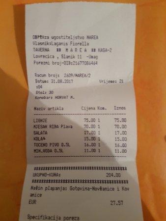 Lovrecica, Chorwacja: scontrino