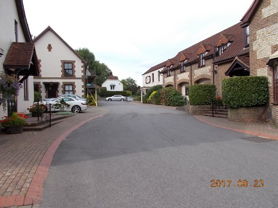 Bramber, UK: View from car-park towards main road