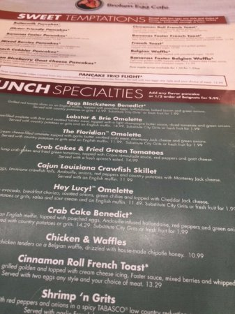 Another Broken Egg Cafe Menu Destin