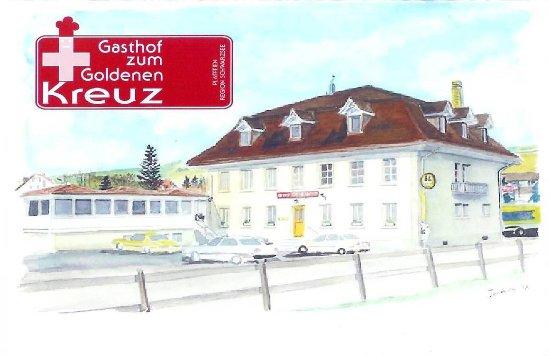 Plaffeien, Switzerland: Gemälde vom Restaurant