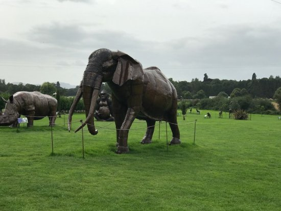 Oswestry, UK: Metal Elephant (foreground), rhino (background)