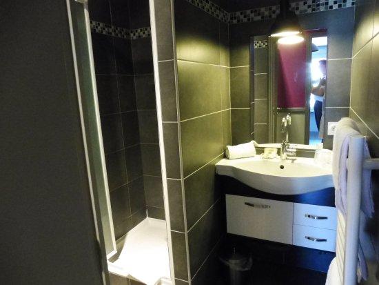 Hôtel La Pêcherie : Petite salle de bain mais propre.