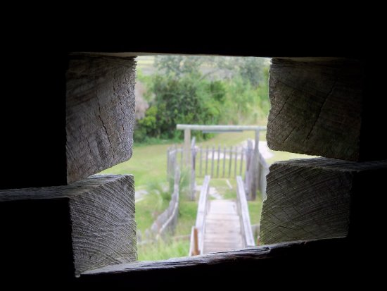 Darien, GA: Looking out one of the musket holes