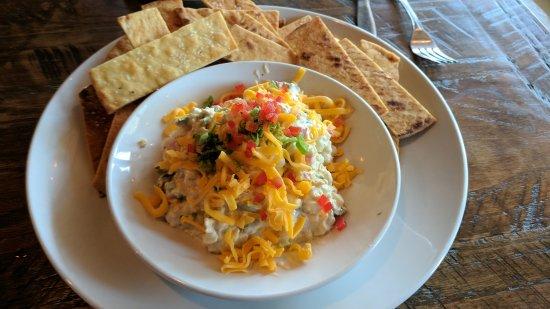 MOSAIC Restaurant Richmond: Spicy corn dip, spring rolls, and oyster poboy.