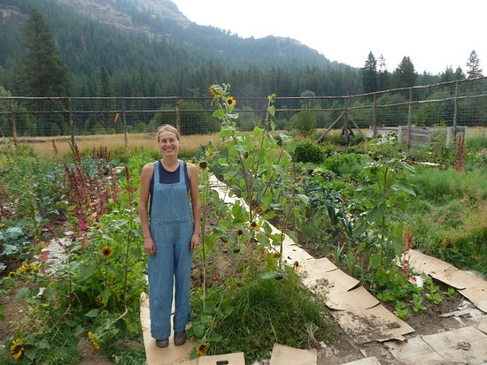 Wallowa, Oregón: Nicole in a portion of her vegetable and flower garden.