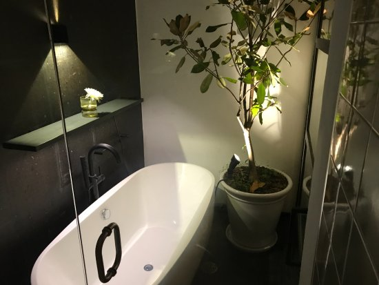 L'Otel: The shower leads out to an open-air bath! Especially gorgeous at night.