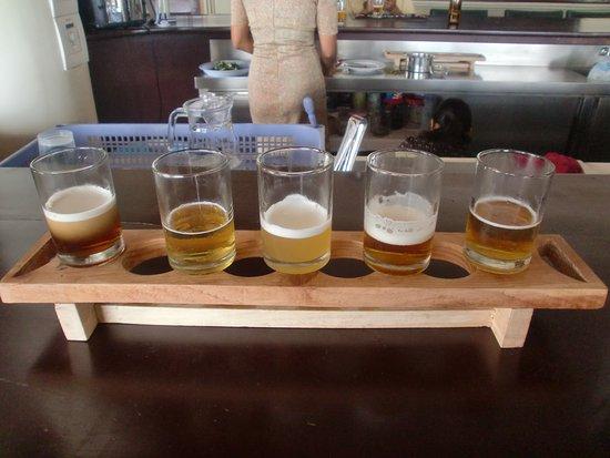 Kingdom Breweries: Rack with tasting glasses in the tasting room