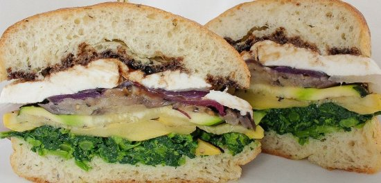Sea Girt, NJ: Grilled Vegetables, Broccoli Rabe, Fresh Mozzarella, Balsamic Glaze on Fresh Baked Focaccio Roll