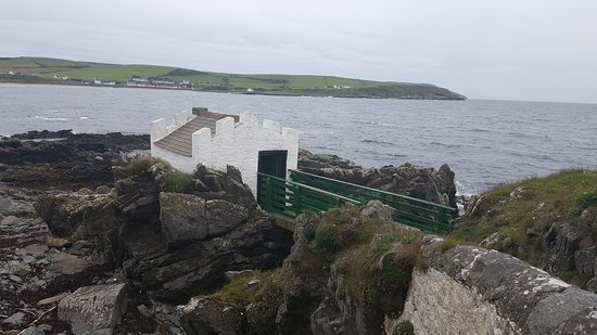 Port Logan, UK: General views of Logan Fish Pond and neighbouring Georgian bathing hut