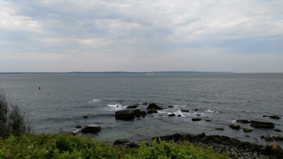 Woods Hole, MA: The view from across the road and down through the paths to the shoreline in front of the lighth