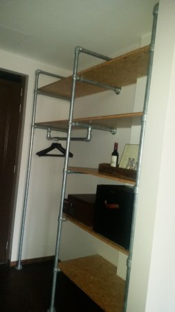 "Hotel V Nesplein: The ""open concept"" clothes storage area."