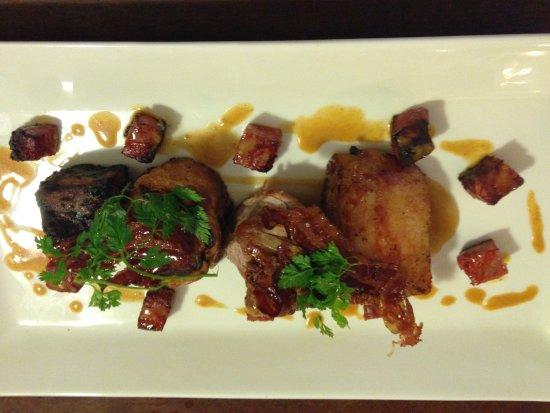 Long Preston, UK: Pork three ways