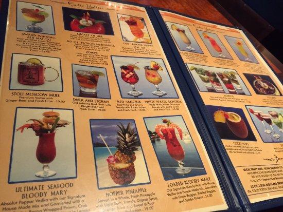 Drinks menu at fish hopper picture of fish hopper for Fish hopper menu