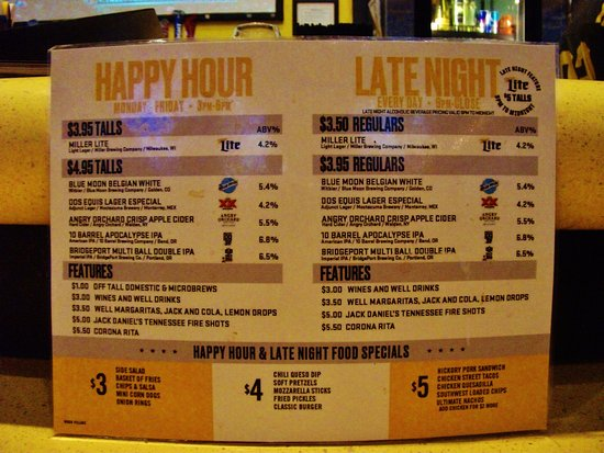 Wood Village, Όρεγκον: Happy Hour list