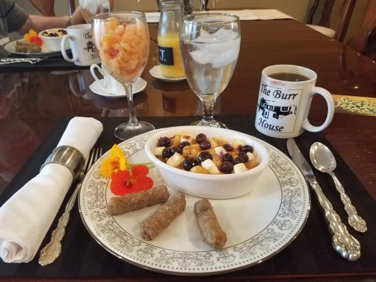 Wauseon, OH: Baked French toast with blueberries, sausage and slushie fruit