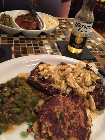 Sunset, LA: Steak topped with Crab, Green Beans, Potato Cake, Ice Cold Corona
