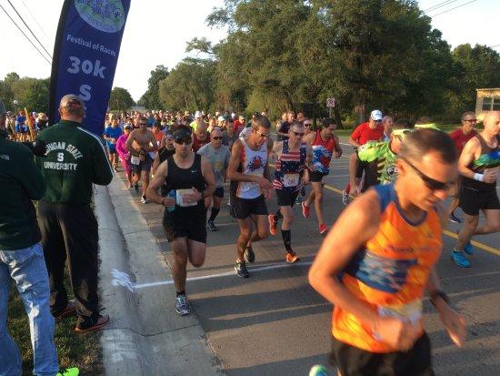 Milford, MI: Start of Labor Day 30K Run 2017. Saturday of Labor Day Weekend.