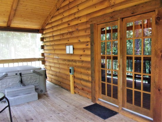 Getaway Cabins Back Deck Hot Tub French Doors Of Whiskey Cabin