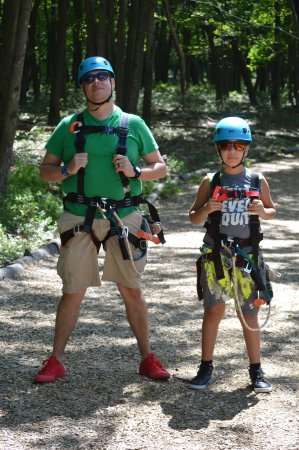Pocono Summit, PA: Ziplining for only $15 each! at Gorilla Grove. You can take the resorts shuttle to go.