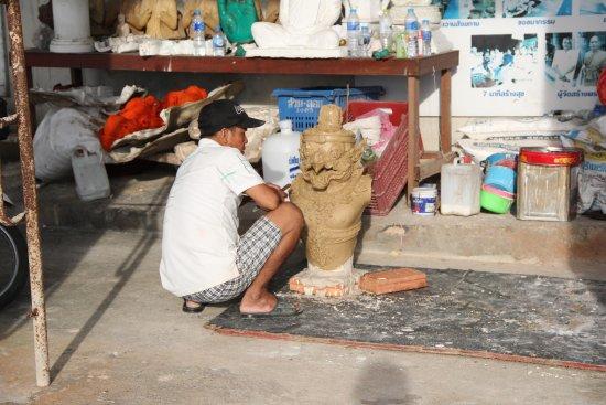 Chalong, Thailand: Big Buddha worker / sculptor