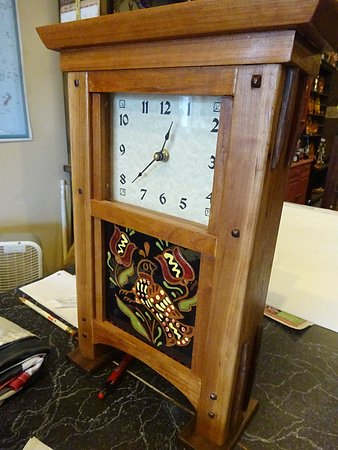 Robesonia, PA: A clock with a redware tile was made by a local craftsman.