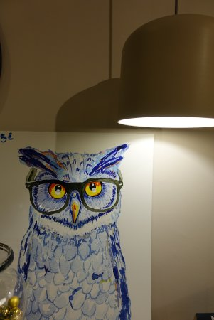 Chouette Hotel: owl painting is everywhere XD