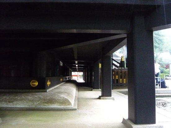 Katori, Japan: underneath the shrine corridor
