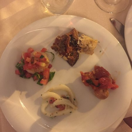 Osteria La Gensola: Sampling of incredibly delicious appetizers enjoyed by Joe Pane & family