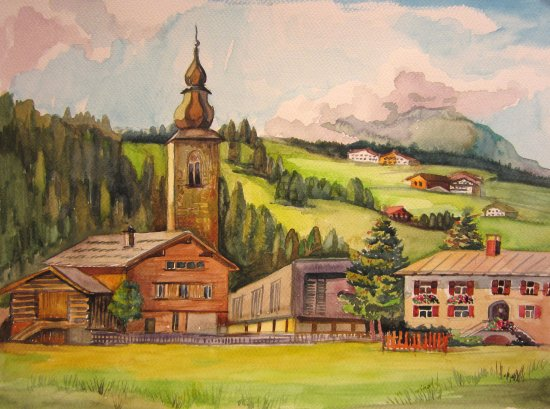 Pension Schneider: Lech at summer. My painting.