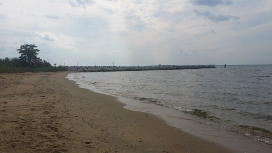 Stevensville, MD: Beach and jetty marking south edge of the beach