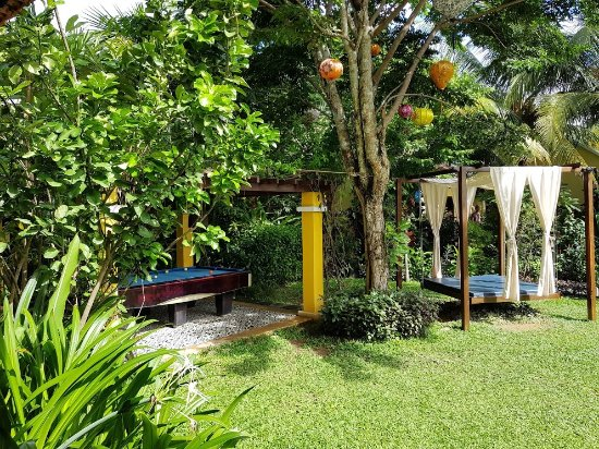 Garden area with a swing and pool table