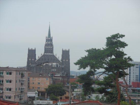 suwon first church seen from near smoke stacks