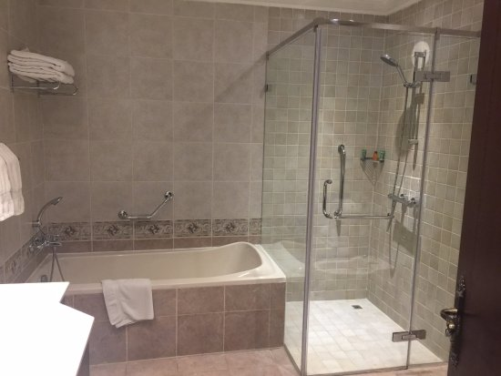 Bath And Shower Com spacious bathroom with a bath tub and a separate shower enclosure
