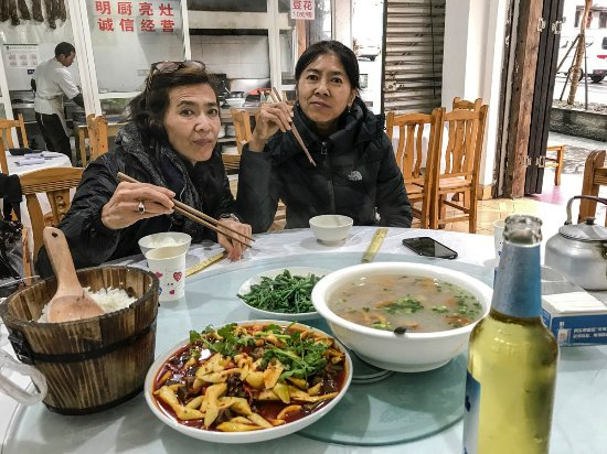 Luding County, China: A typical local Sichuanese food restaurant, be warned it's spicy!