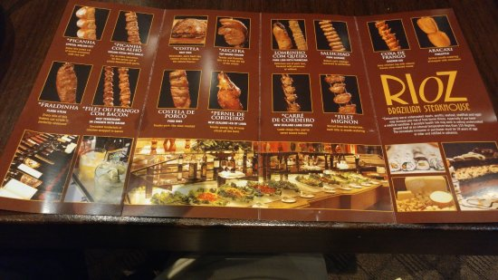 Rioz Brazilian Steakhouse The Menu For Myrtle Beach