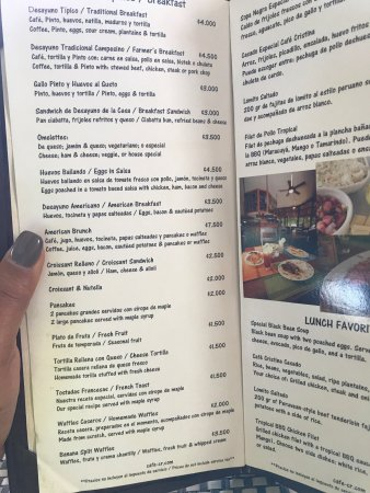 Café Cristina de Guanacaste: The menu - not all items available all the time.