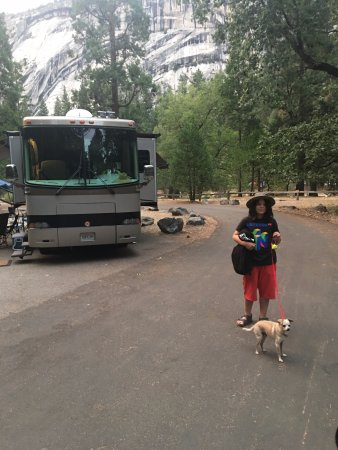 Lower Pines Campground: Campsite and my Grandson and Odie