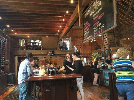 Inside the Sunset Hills Vineyard Tasting Room.