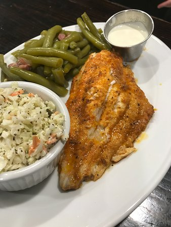 Churchville, VA: Blackend Catfish with fresh green beans and homemade coleslaw