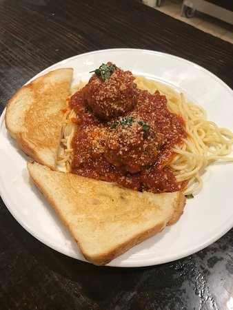 Churchville, VA: Thursday supper special:  Spaghetti and Meatballs with our garlic bread