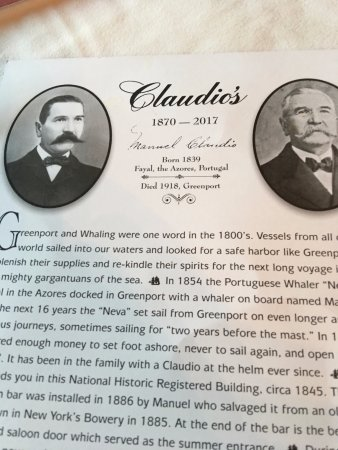 Claudio's Restaurant: History told in front of menu. Founded in early 1800's.